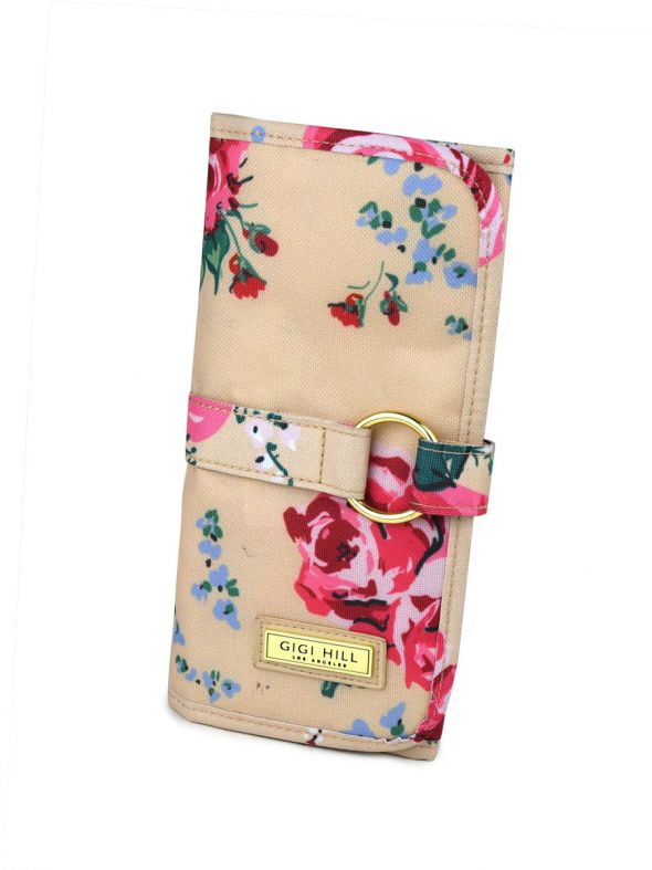 Mikayla Antique Floral Brush Roll