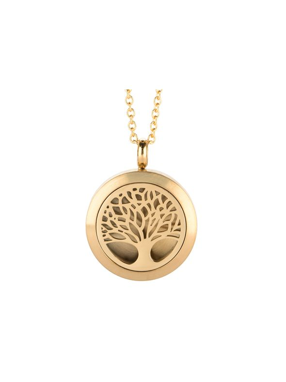 Tree Of Life Essential Oil Locket Gold